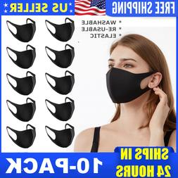 10-Pack Washable Reusable Breathable Black Mouth Cover Face
