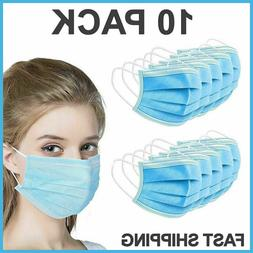 10 PCS Face Mask Medical Surgical Dental Disposable 3-Ply Ea