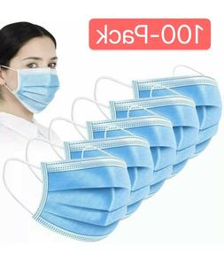 100 PCS Blue Face Mask Mouth & Nose Protecting Families Easy