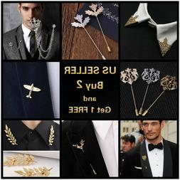 14 style Men's Brooch Lapel Badge Suit Pin Chest Metal Colla