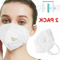 2 Pieces KN95 Face Mask Mouth Cover Medical With Valve - USA