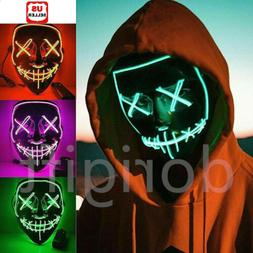 3-Modes LED Mask Cosplay Costume Light Up Scary Halloween Pa