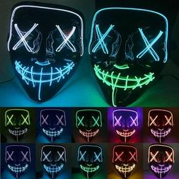 4 Modes Halloween LED Glow Mask EL Wire Light Up The Purge M