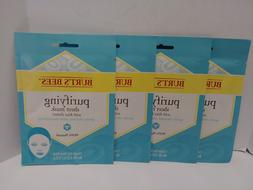 4 PACK Burt's Bees Purifying Sheet Mask w/Kiwi Extract Clean
