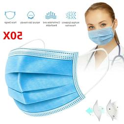 50 Disposable Face Mask Beauty Surgical Medical Masks 3ply F
