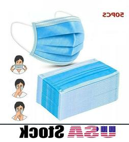 50 P c s Face Mask 3 Layers in Stock Blue Protection US SELL