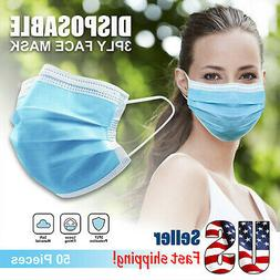 50 PCS 3-PLY Disposable Face Mask Non Medical Surgical Earlo