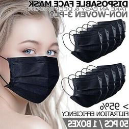 Black Disposable Face Mask Non Medical 3-Ply Earloop Dust C