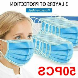 50 PCS Face Mask Medical Surgical Dental Disposable 3-Ply Ea