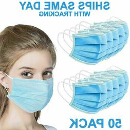50 PCS Face Mask Non Medical Surgical Disposable 3-Ply Earlo