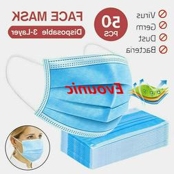 50PCS 3-Ply Disposable Face Mask medical Ear-loop ASTM Level