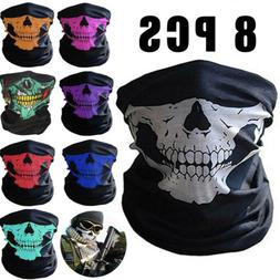 8 Pcs Half Face Mask Breathable Skull Dustproof Windproof Bi