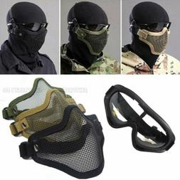 Airsoft Steel Wire Mesh Half Face Mask Tactical Hunting + Pr