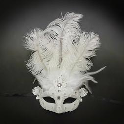 All White Laced Women's Costume Masquerade Venetian Mask wit