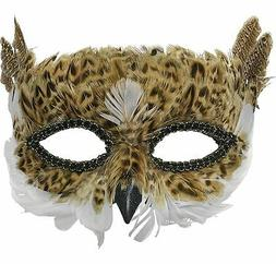 Brown Owl Feather Mask Halloween Costume Accessories