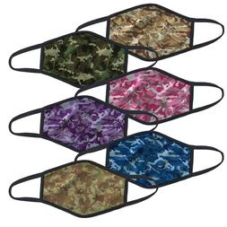 Camo Print Face Cover Mask - Multi Layer - Anti-Microbial -