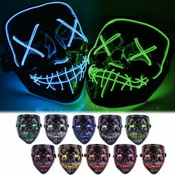 "Halloween Clubbing Light Up ""Stitches"" LED Mask Costume Rave"