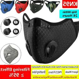 Cycling Face Mask 3/4/5 Filters Pads W/Dual Valves Respirato