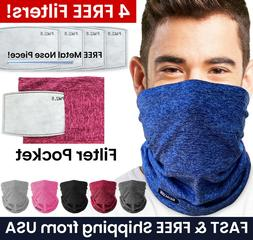 Face Mask Neck Gaiter Balaclava with Filter Pocket + 4 PM2.5