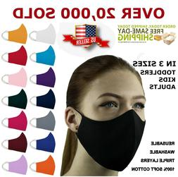 ADULT and KIDS Face Mask Triple Layers 100% Cotton Washable