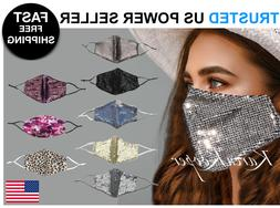 Fashion Face Mask Sequin Glitter Bling Cover Nose Mouth Wash