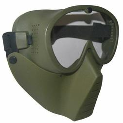 GREEN New Protective Airsoft Paintball Tactical Full Face Go