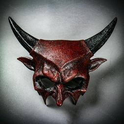 Halloween Devil Bloody Red Mask w/ Ram Horns Men Costume Cos