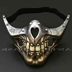Halloween Steampunk Half Face Skull sharp jawline Burning Ma