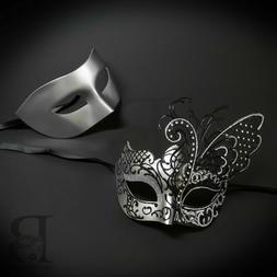 His and Hers Couples Venetian Masquerade Masks Silver Butter