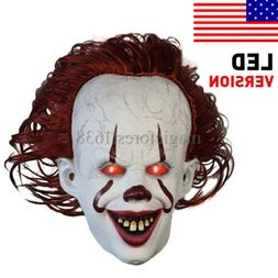 Horror Scary Clown Pennywise IT Full Mask w/LED EvilRed Eyes