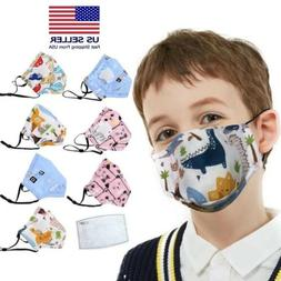 KIDS Cloth Mask w/ FREE Filter PM 2.5 Face Mask Valve Cotton