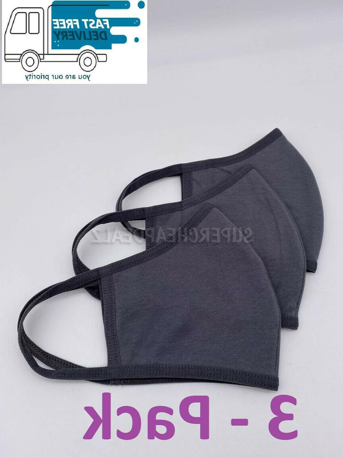 3 Pack Grey 100% Three Layer Adult Face - Reusable Washable Unisex