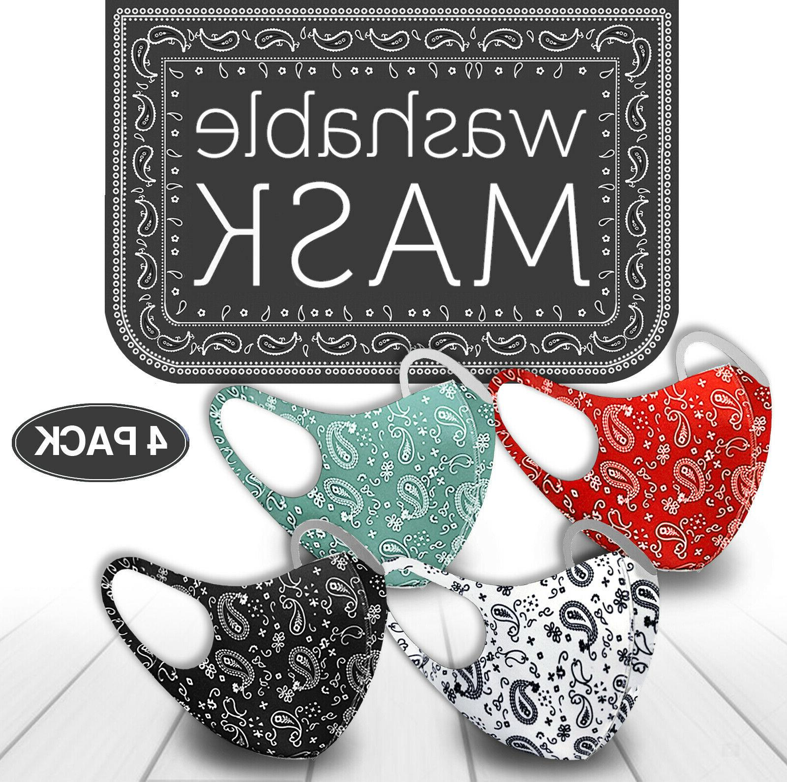4 pack mix face mask paisley reusable