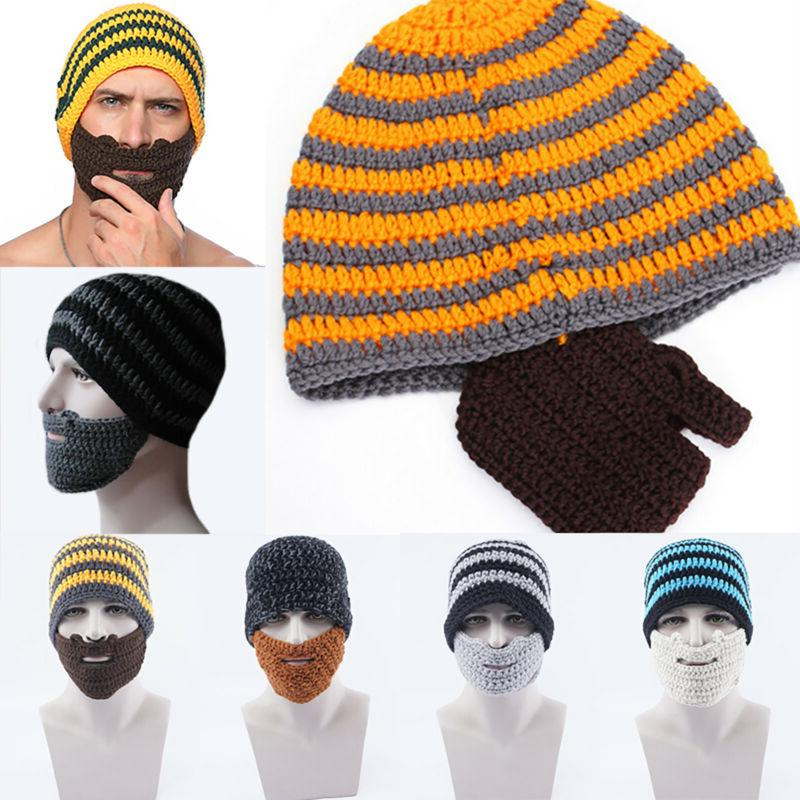 Men Knitte Beanie Hats Moustache Beard Caps with Face Mask W