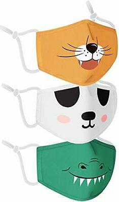 Reusable Animal Kids Face Mask, 3 Pack Toddler's Washable Co
