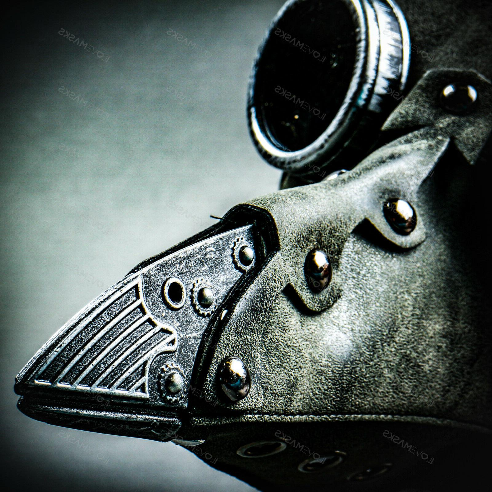 Steampunk Leather Plague Doctor Medieval Death Mask Grey
