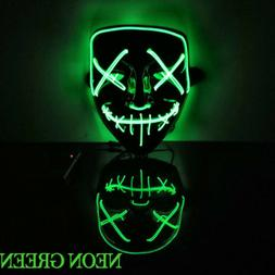 LED Mask Glow in the Dark  Purge Halloween Party Neon Stitch