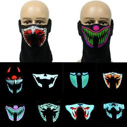 Led Sound Activated Mask Halloween Costumes Music Dance Part