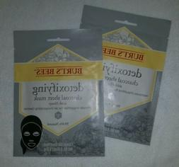 Lot of 2 Burt's Bees Detoxifying Charcoal Sheet Mask with Ho