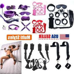 Lot Sex-Toys Handcuffs Eye Mask Whip Colar Bondage Set For W