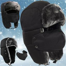 Mens Womens Winter Trapper Hats Face Mask Warm Aviator Russi