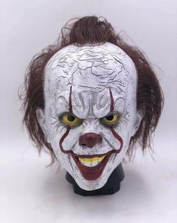 Pennywise Latex Full Mask w/Hair Horror Clown Cosplay Hallow