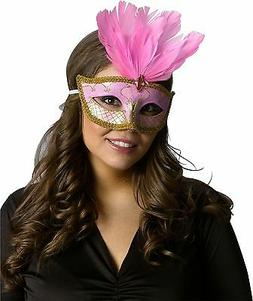 Pink & Gold Venetian Mask Mardi Gras Feather Costume Fancy D