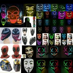 Rave Party LED Light Up Stitches Scary LED Mask For Costume