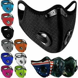 Reusable Face Mask Breathing Valves Sports Cycling Outdoor A