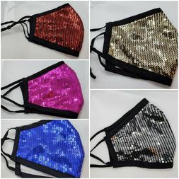Sequin Glitter Face Mask Fashion Bling Sparkly Washable Face
