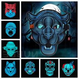 Sound Reactive LED Light Up Activated Halloween Mask Dance R