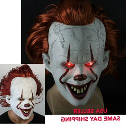 US! It Chapter Two Scary Clown Pennywise LED Lights Mask Cos