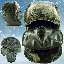 Winter Leather Trapper Hats Face Mask Fur Warm Aviator Russi